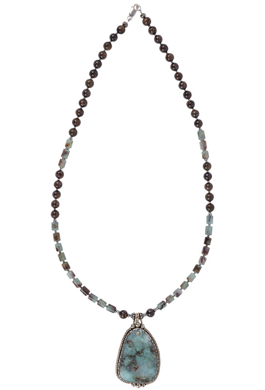 Breathe Deep Designs Chrysoprase, Bronzite and Sterling Silver Beaded Necklace