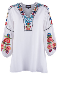 Vintage Collection White Floral Embroidered Tunic - Front