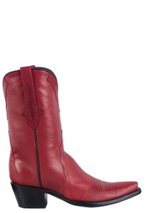Stallion Women's Red Lizard Cowboy Boots - Side
