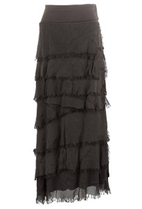 Gigi Tiered Torn Silk Skirt - Brown - Front