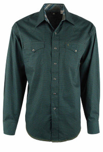 Stetson Green Square Pegs Geometric Print Snap Shirt - Front