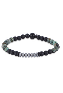 Kenton Michael Onyx Bracelet With Turquoise and Sterling Silver Stack