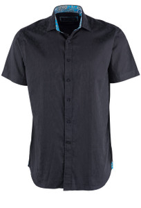 David Smith Australia Short Sleeve Black Floral Jacquard Sport Shirt  - Front