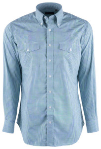 Pinto Ranch YY Collection Green and Blue Micro Graph Check Shirt - Front