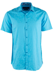 David Smith Australia Short Sleeve Aqua Floral Jacquard Sport Shirt - Front