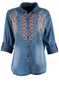 Lola P Denim Embroidered Bib Front Top - Front