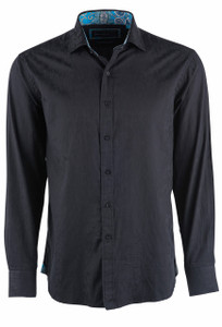David Smith Australia Long Sleeve Black Floral Jacquard Sport Shirt - Front