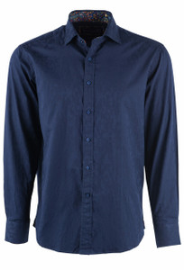 David Smith Australia Long Sleeve Ink Floral Jacquard Sport Shirt - Front