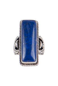 Turquoise Moon Verticle Bar Lapis Ring - Size 9 1/4 - Front