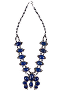 Turquoise Moon Lapis Pendant Necklace and Earring Set - Necklace