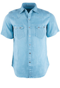 Ryan Michael Cloud Short Sleeve Snap Shirt - Front