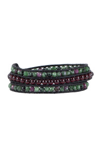 Wrapped to Wear Ruby Zoisite and Garnet Wrap Bracelet - Front