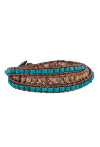 Wrapped to Wear Heishi Turquoise and Jasper Spiral Wrap Bracelet - Front