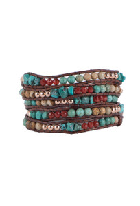 Wrapped to Wear Turquoise Carnelian Spiral Wrap Bracelet - Front