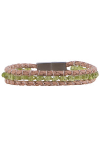 Wrapped to Wear Peridot Magnetic Clasp Boho Bracelet - Front