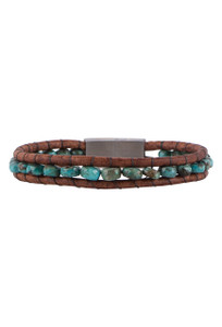 Wrapped to Wear Faceted Turquoise Magnetic Clasp Boho Bracelet - Front