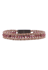Wrapped to Wear Pink Tourmaline Gemstone Magnetic Clasp Boho Bracelet - Front