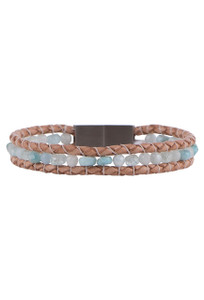 Wrapped to Wear Aquamarine Medley Clasp Boho Bracelet - Front