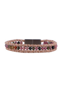 Wrapped to Wear Tourmaline Medley Clasp Boho Bracelet - Front