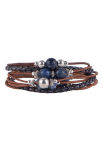 Wrapped to Wear Sodalite and Sterling Silver Scatter Bracelet - Front