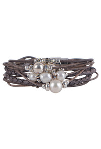 Wrapped to Wear Pearl and Sterling Silver Scatter Bracelet - Front