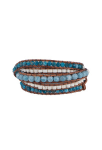 Wrapped to Wear Larimar and Apatite Wrap Bracelet - Front