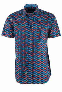 David Smith Australia Short Sleeve Marine Print Sport Shirt - Front