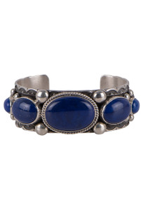 Turquoise Moon Scallop Five Stone Lapis Cuff - Front
