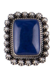Turquoise Moon Square Lapis Ring - Front