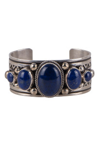 Turquoise Moon Southwestern Five Stone Lapis Cuff - Front