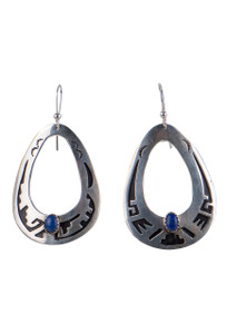 Turquoise Moon Sterling Silver Cutout Earrings With Lapis