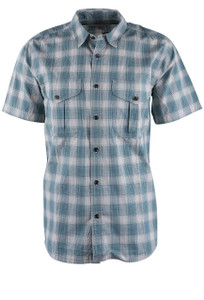 Filson Sand and Teal Feather Cloth Short Sleeve Shirt - Front