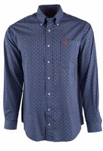 Cinch Navy White And Orange Multicolor Check Print Shirt - Front