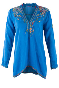 Johnny Was Blue Nemo Blouse - Front