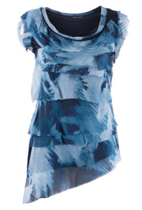 Gigi Moda Brush Stroke Ruffle Top - Front