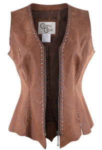 Cripple Creek Raw Edge Leather Vest With Studs - Front