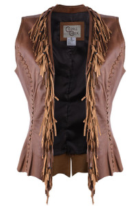 Cripple Creek Fringe Neckline Leather Vest  - Front