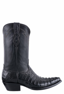 Black Jack for Pinto Ranch Men's Black Matte Caiman Hornback Tail Boots - Side