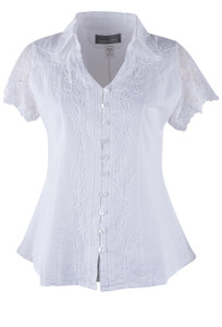 Inca Cottons Short Sleeve Lace Top - Front