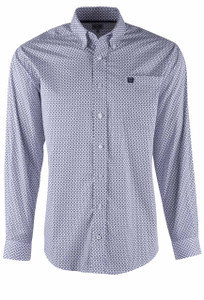 Cinch Navy and Lilac Diamondback Sport Shirt - Front