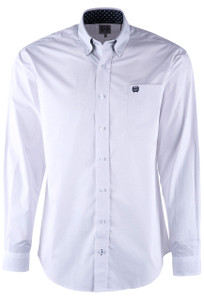 Cinch White Round Printed Plain Weave Shirt - Front