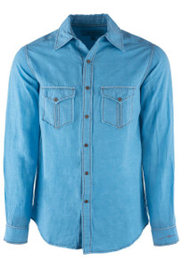 Ryan Michael Sky Blue Split Rail Snap Shirt - Front