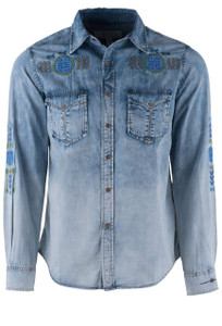Ryan Michael Indigo Embroidered Ombre Snap Shirt - Front