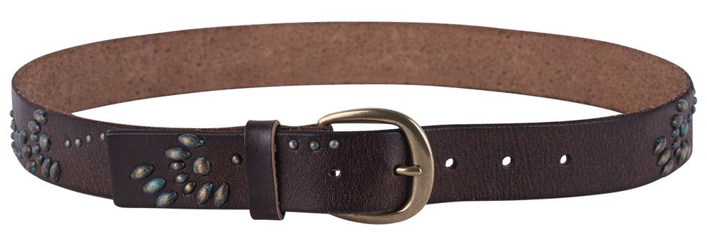 "Amsterdam Heritage Brown 1 1/4"" Studded Leather Belt"