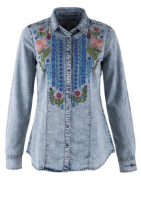 Ryan Michael Floral Embroidered Denim Snap Shirt - Front