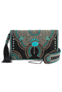 Mary Frances Squash Blossom Beaded Crossbody Clutch Purse - Front