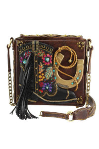 Mary Frances Line Dance Embellished Crossbody Purse - Front