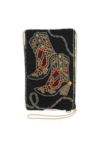 Mary Frances Hoe Down Beaded Western Cowgirl Boots Crossbody Purse - Front