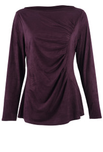 Kay Celine Gina Shirred Suede Top - Front