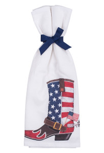 USA Flag Boot Flour Sack Towels - Front